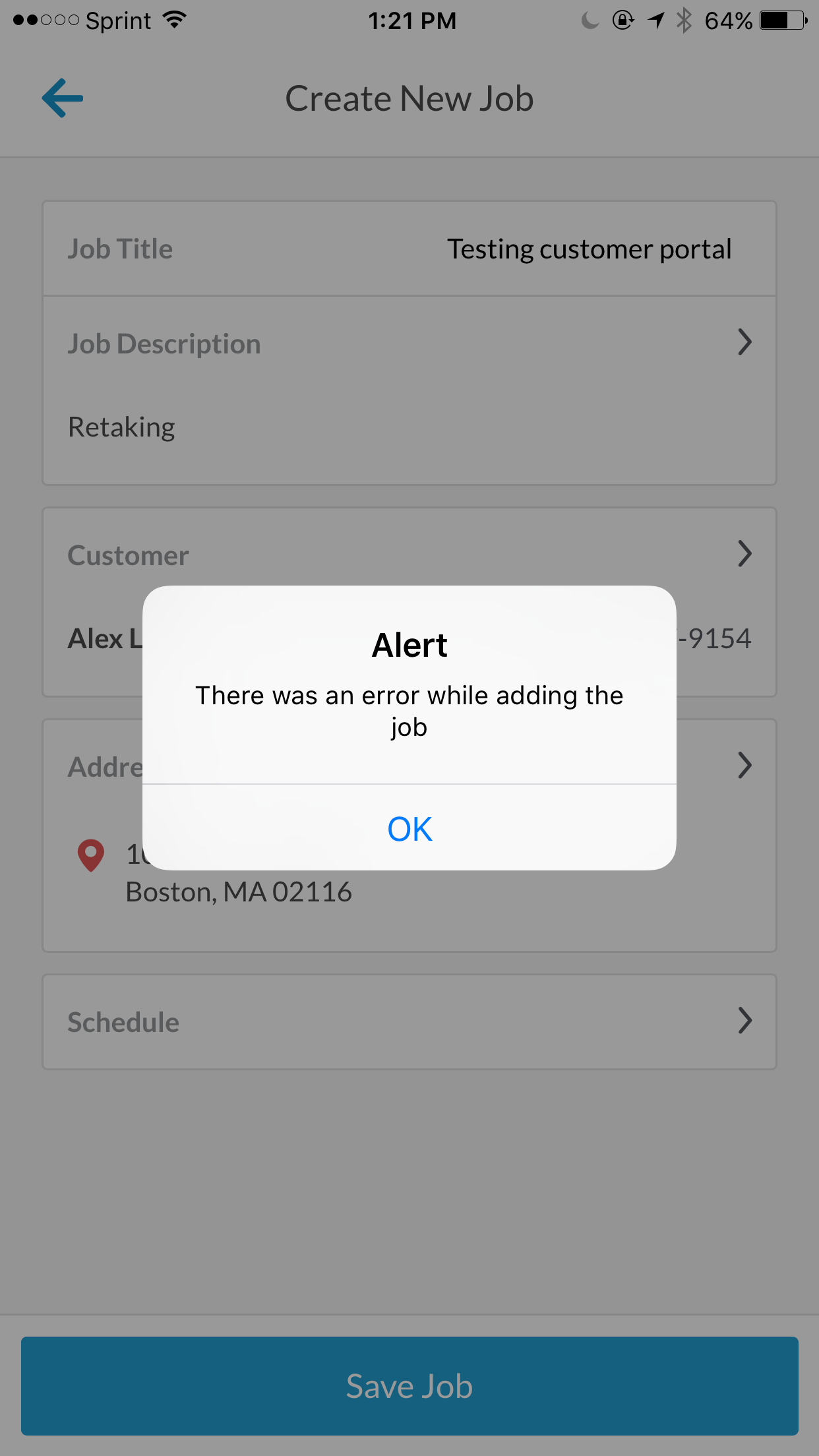 Error creating a job screenshot